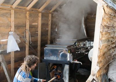 Boiling down maple sap.